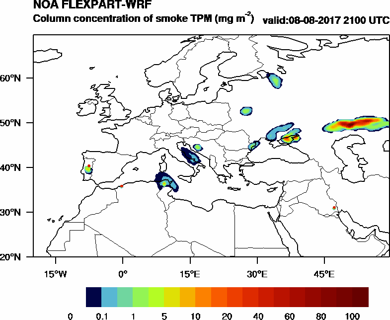 Column concentration of smoke TPM - 2017-08-08 21:00
