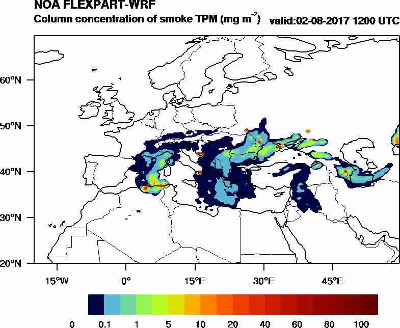 Column concentration of smoke TPM - 2017-08-02 12:00