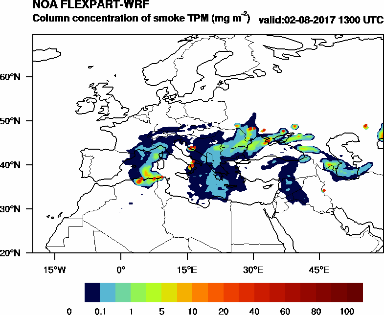 Column concentration of smoke TPM - 2017-08-02 13:00
