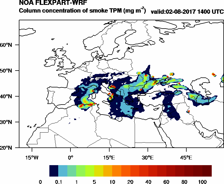 Column concentration of smoke TPM - 2017-08-02 14:00