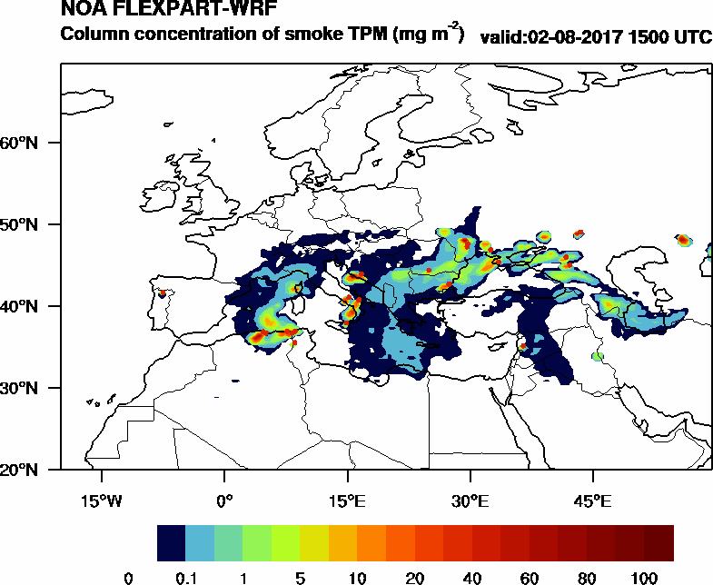 Column concentration of smoke TPM - 2017-08-02 15:00