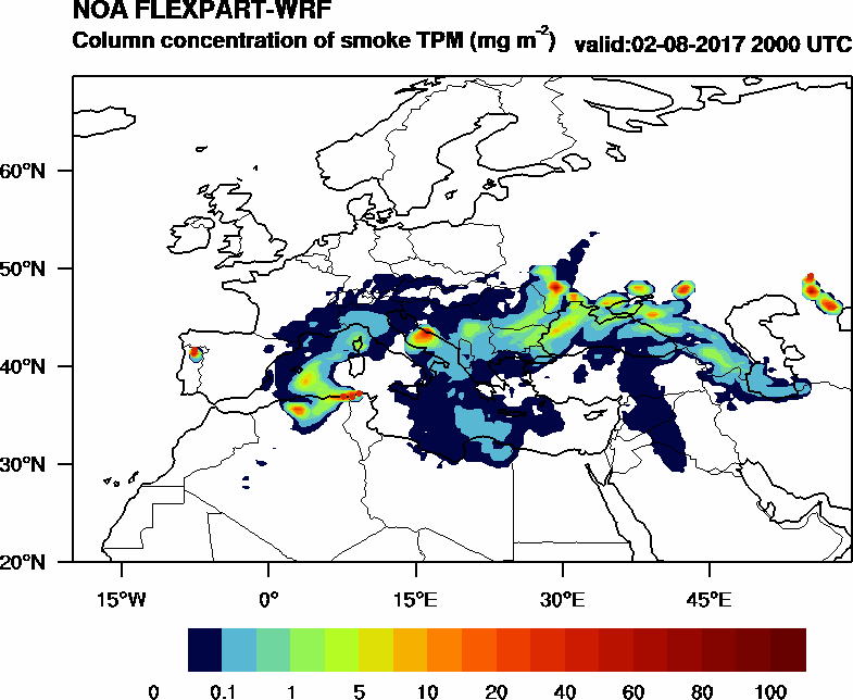 Column concentration of smoke TPM - 2017-08-02 20:00