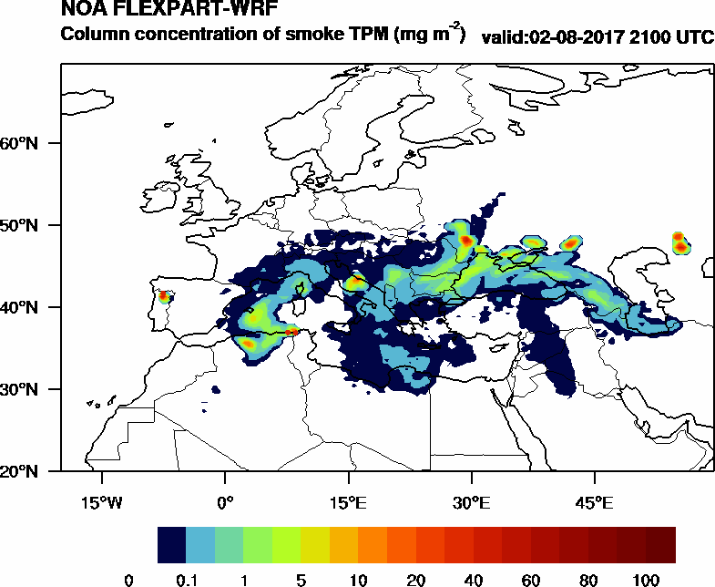 Column concentration of smoke TPM - 2017-08-02 21:00