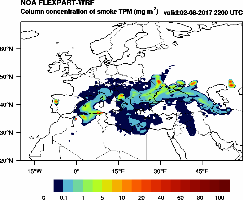 Column concentration of smoke TPM - 2017-08-02 22:00