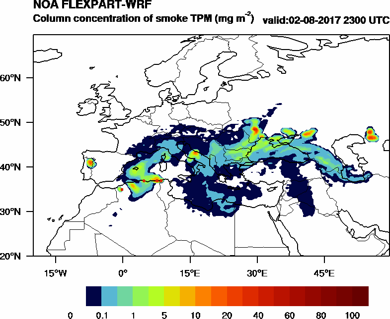 Column concentration of smoke TPM - 2017-08-02 23:00