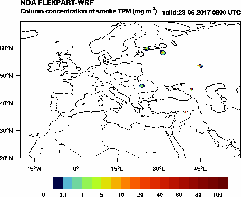 Column concentration of smoke TPM - 2017-06-23 08:00