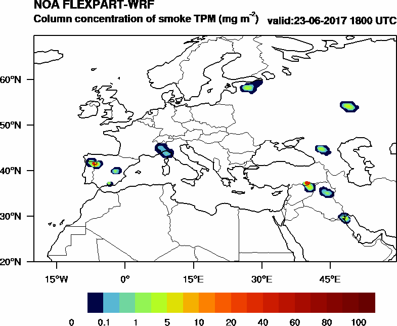 Column concentration of smoke TPM - 2017-06-23 18:00