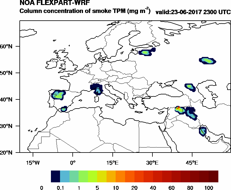 Column concentration of smoke TPM - 2017-06-23 23:00
