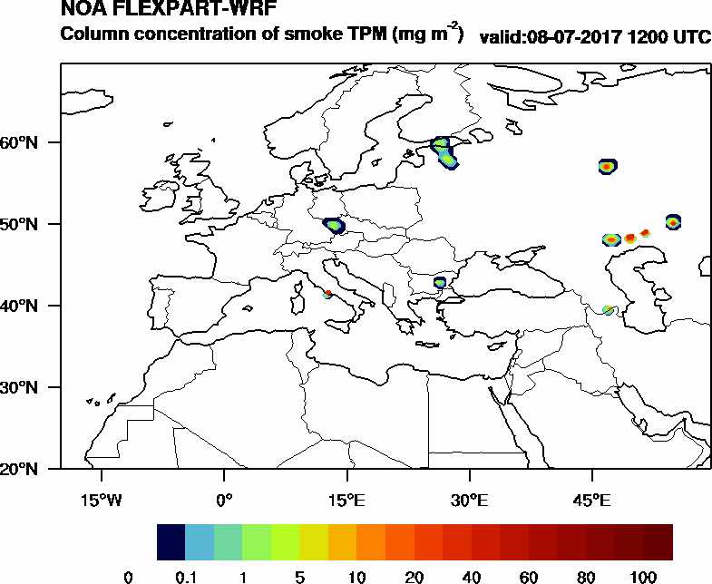 Column concentration of smoke TPM - 2017-07-08 12:00
