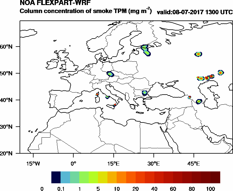 Column concentration of smoke TPM - 2017-07-08 13:00