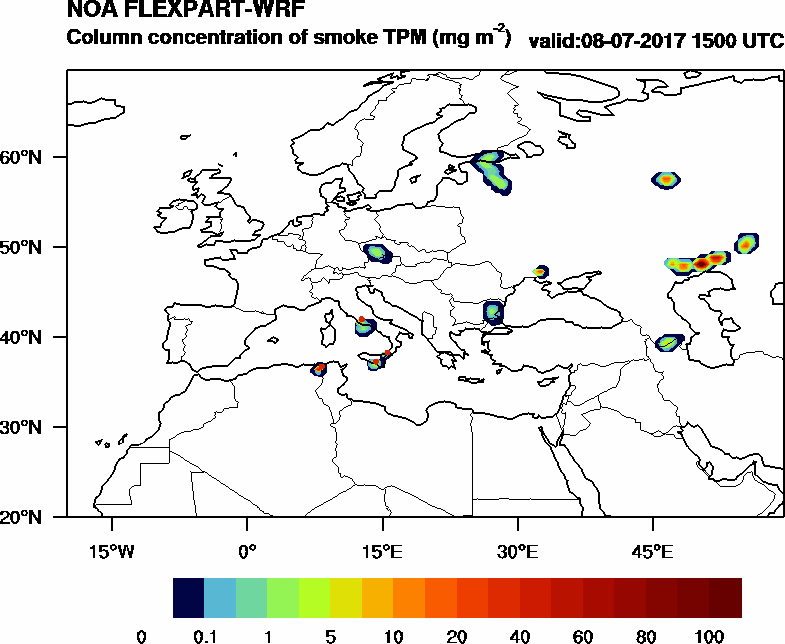 Column concentration of smoke TPM - 2017-07-08 15:00