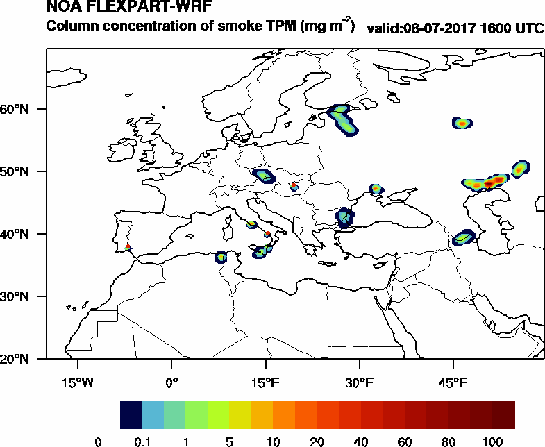 Column concentration of smoke TPM - 2017-07-08 16:00