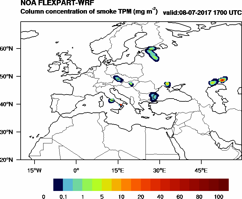 Column concentration of smoke TPM - 2017-07-08 17:00