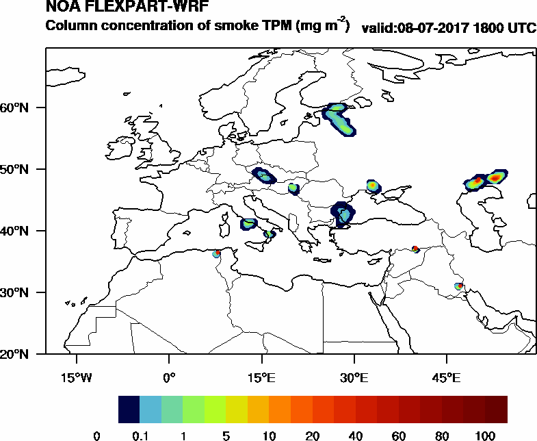 Column concentration of smoke TPM - 2017-07-08 18:00