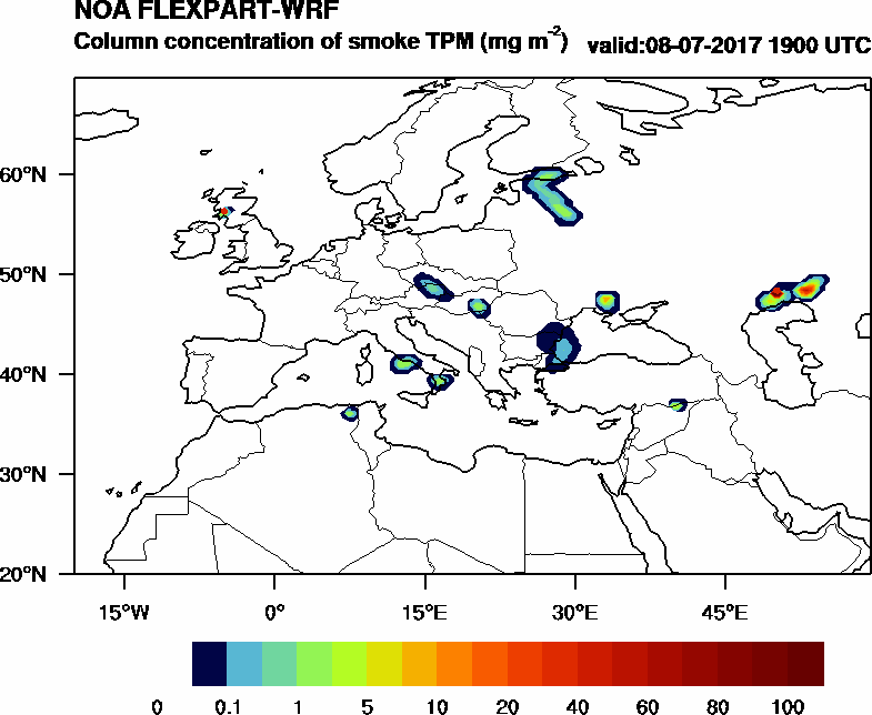 Column concentration of smoke TPM - 2017-07-08 19:00