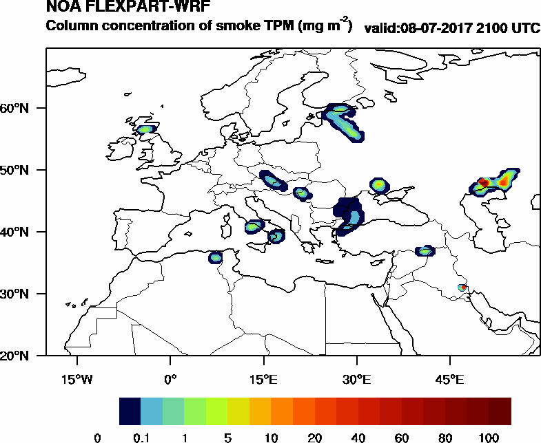 Column concentration of smoke TPM - 2017-07-08 21:00
