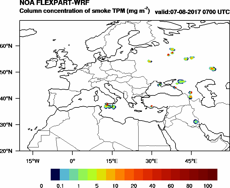 Column concentration of smoke TPM - 2017-08-07 07:00