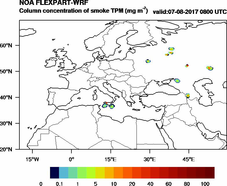 Column concentration of smoke TPM - 2017-08-07 08:00
