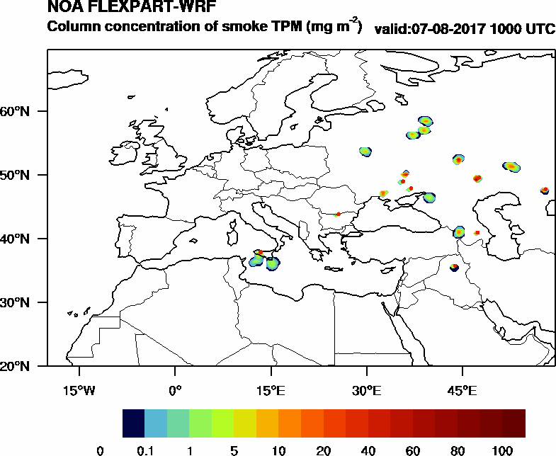 Column concentration of smoke TPM - 2017-08-07 10:00
