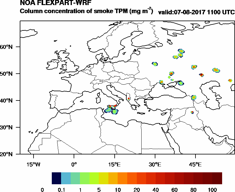 Column concentration of smoke TPM - 2017-08-07 11:00