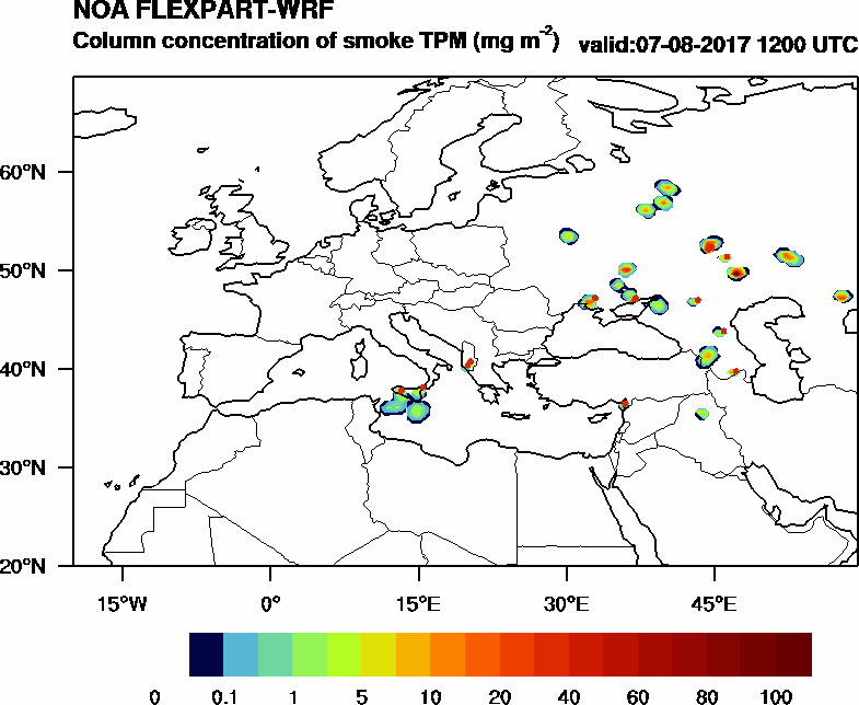 Column concentration of smoke TPM - 2017-08-07 12:00