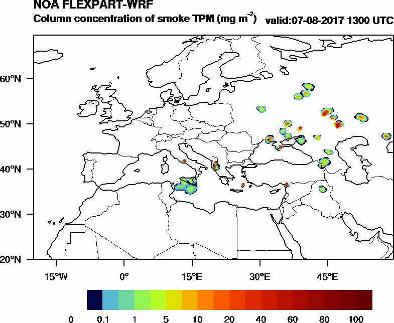 Column concentration of smoke TPM - 2017-08-07 13:00