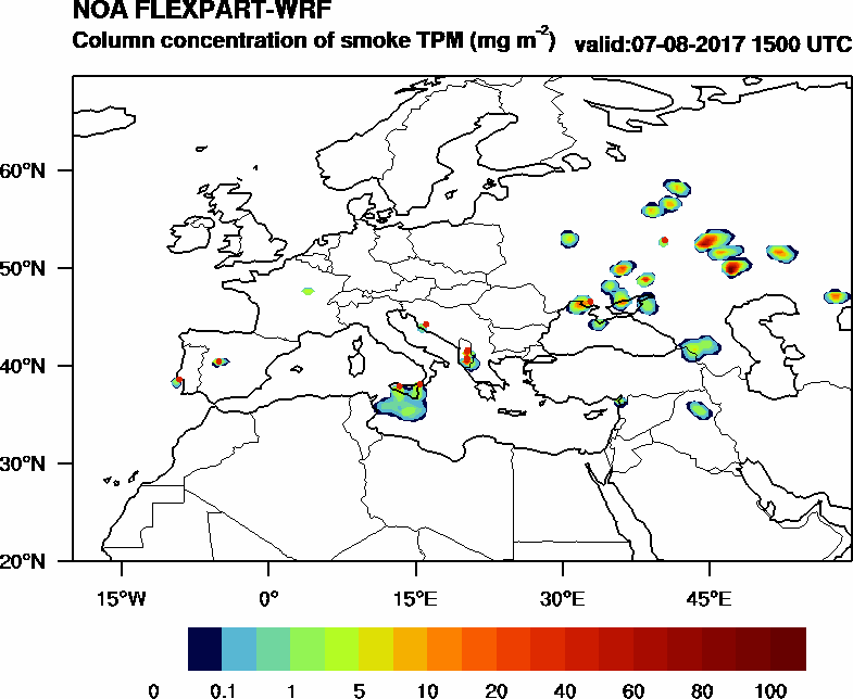 Column concentration of smoke TPM - 2017-08-07 15:00