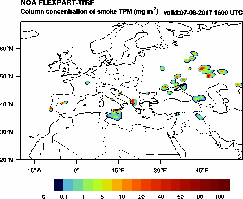 Column concentration of smoke TPM - 2017-08-07 16:00