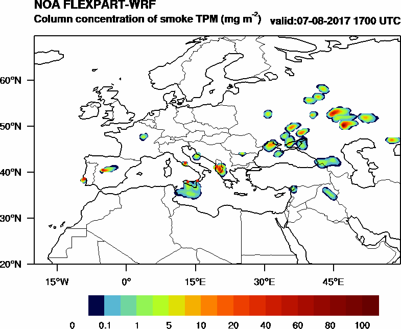 Column concentration of smoke TPM - 2017-08-07 17:00