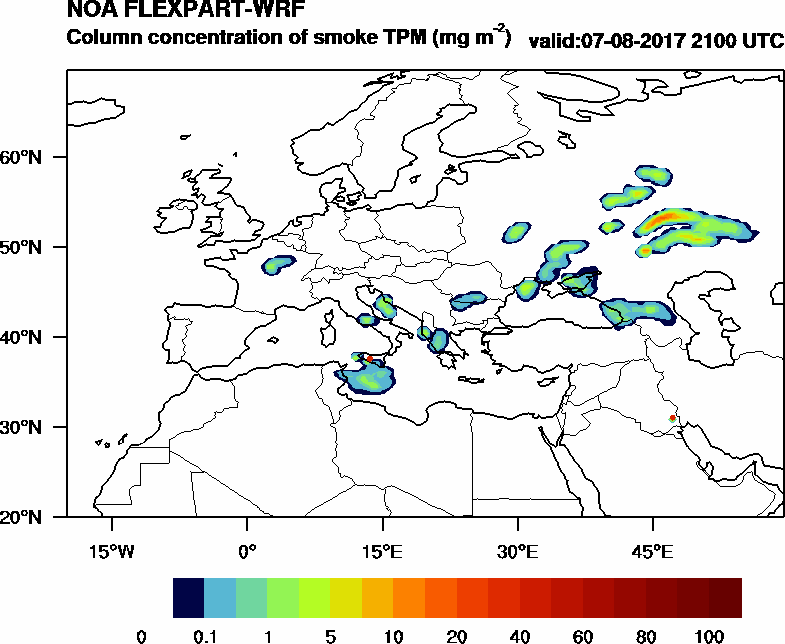 Column concentration of smoke TPM - 2017-08-07 21:00