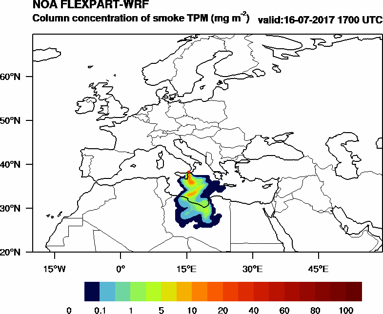 Column concentration of smoke TPM - 2017-07-16 17:00