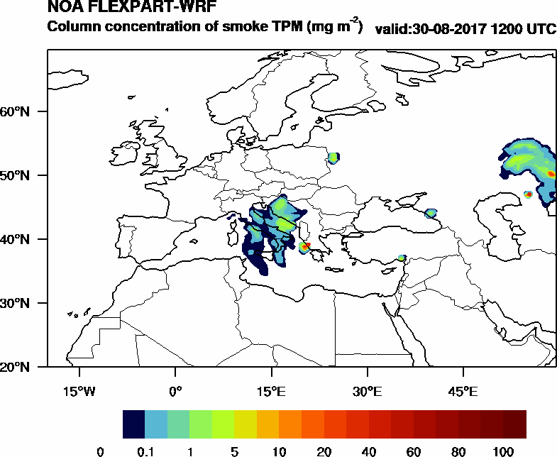 Column concentration of smoke TPM - 2017-08-30 12:00