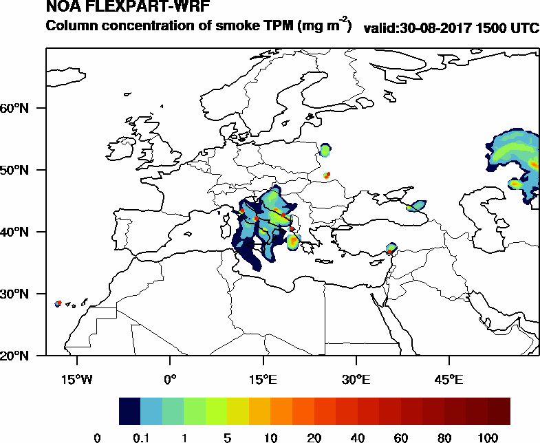 Column concentration of smoke TPM - 2017-08-30 15:00