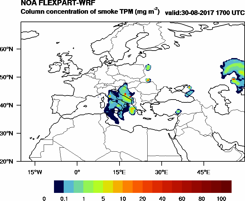 Column concentration of smoke TPM - 2017-08-30 17:00