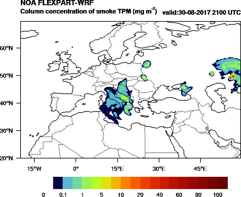 Column concentration of smoke TPM - 2017-08-30 21:00