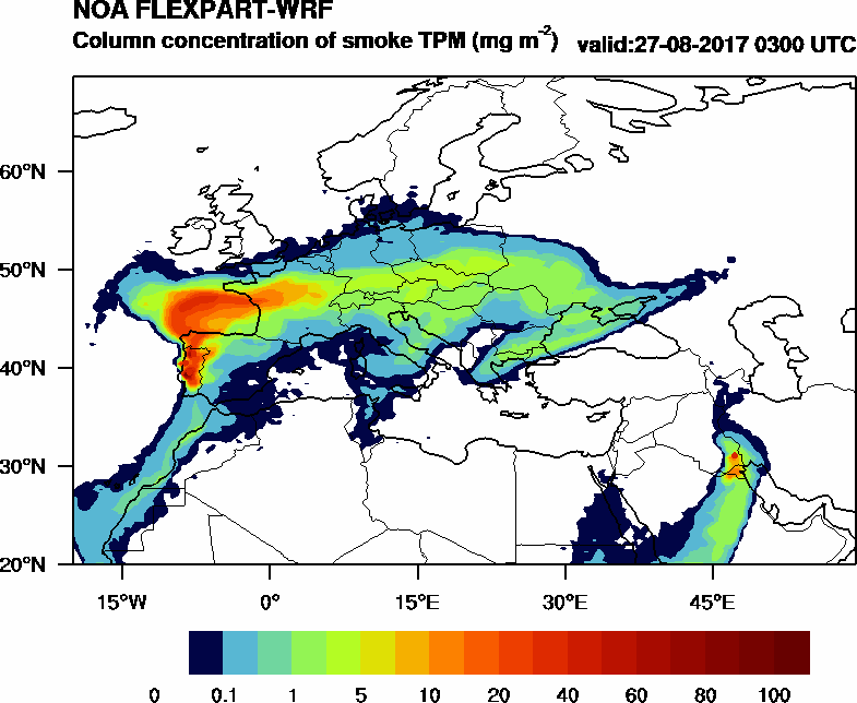 Column concentration of smoke TPM - 2017-08-27 03:00