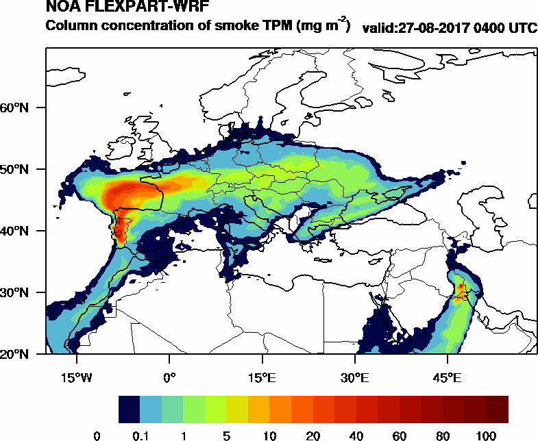 Column concentration of smoke TPM - 2017-08-27 04:00