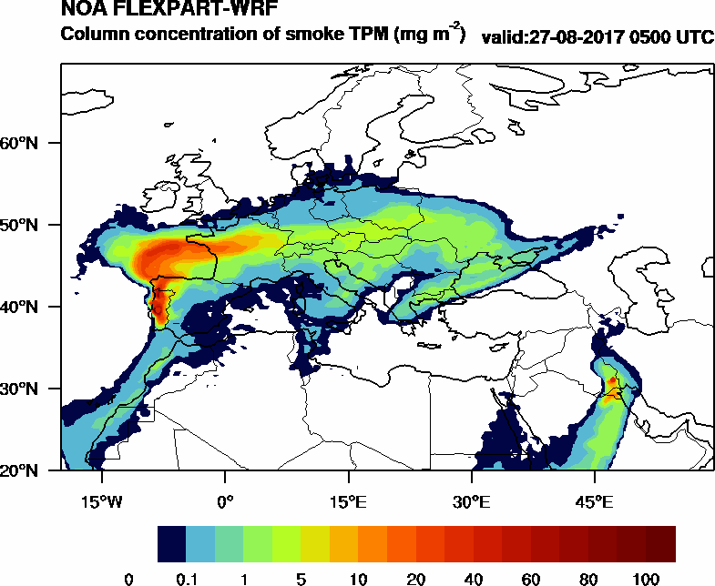 Column concentration of smoke TPM - 2017-08-27 05:00