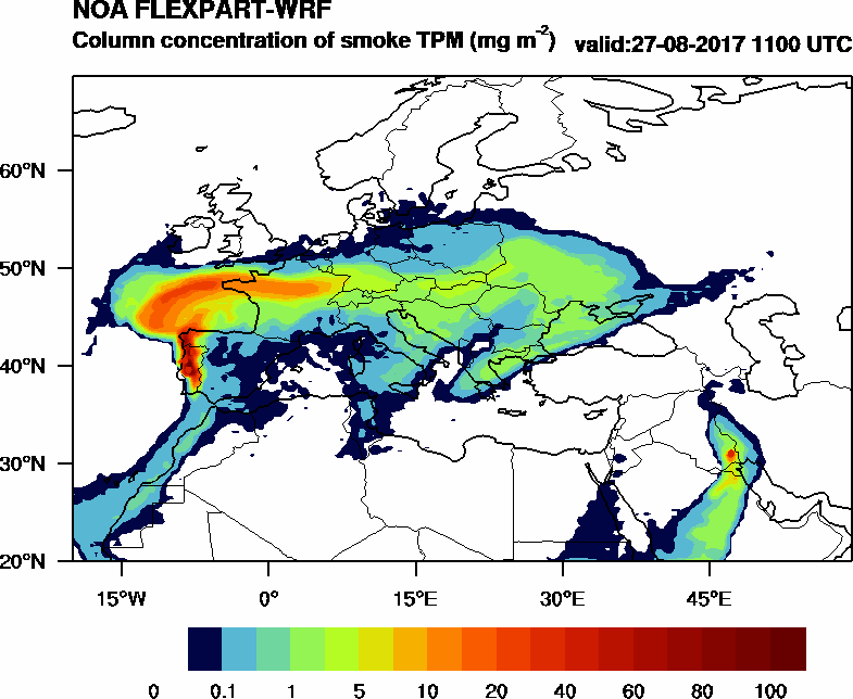 Column concentration of smoke TPM - 2017-08-27 11:00