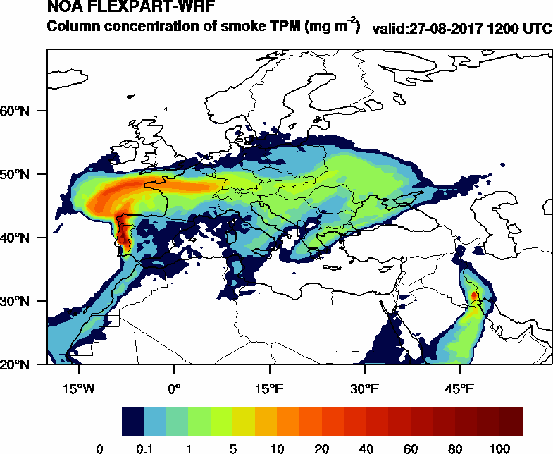 Column concentration of smoke TPM - 2017-08-27 12:00