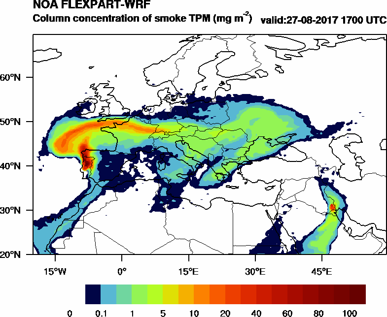 Column concentration of smoke TPM - 2017-08-27 17:00