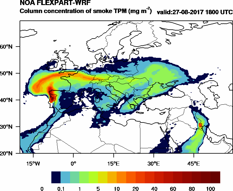 Column concentration of smoke TPM - 2017-08-27 18:00