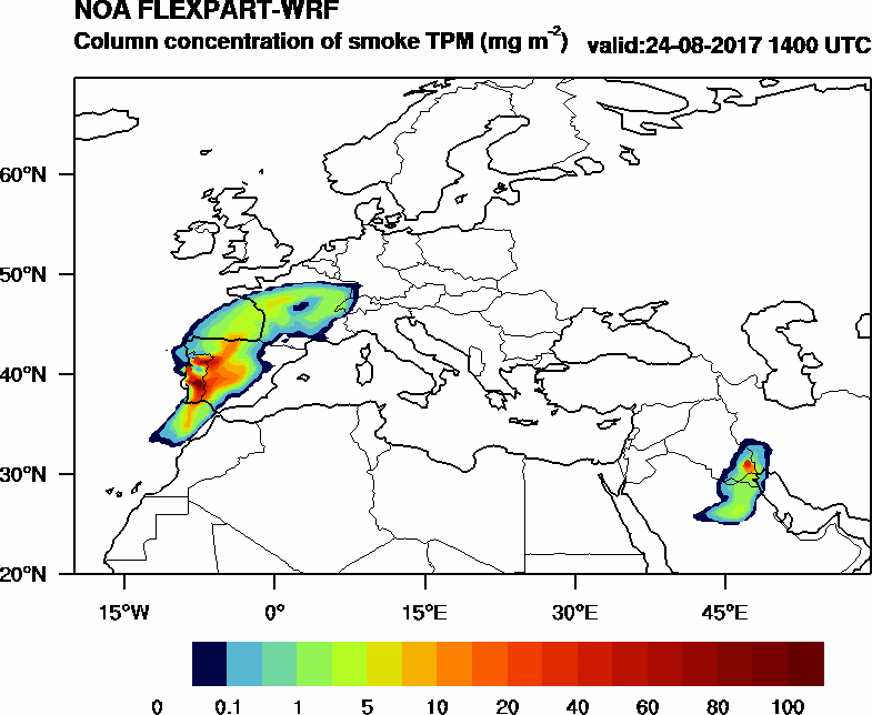 Column concentration of smoke TPM - 2017-08-24 14:00