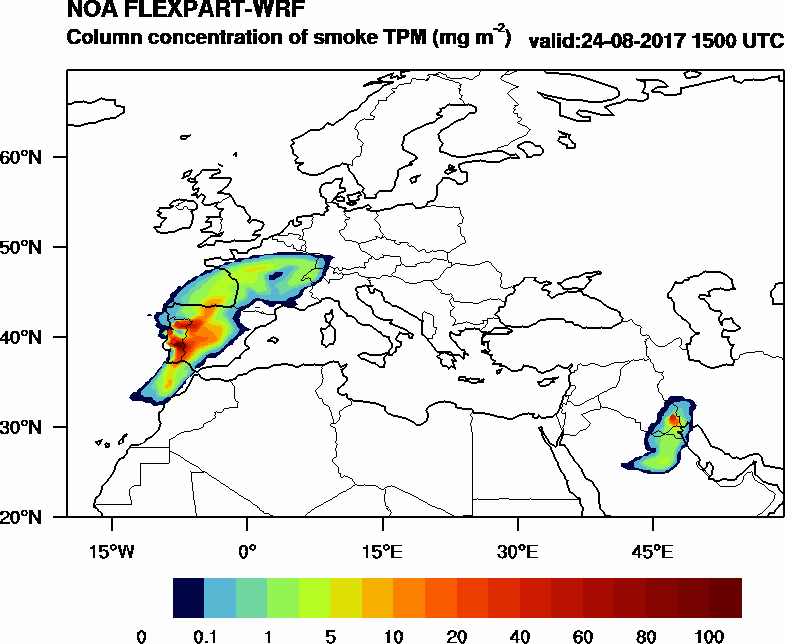 Column concentration of smoke TPM - 2017-08-24 15:00