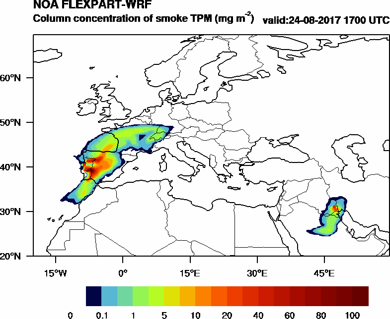 Column concentration of smoke TPM - 2017-08-24 17:00
