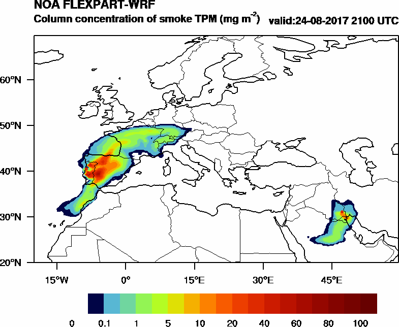 Column concentration of smoke TPM - 2017-08-24 21:00