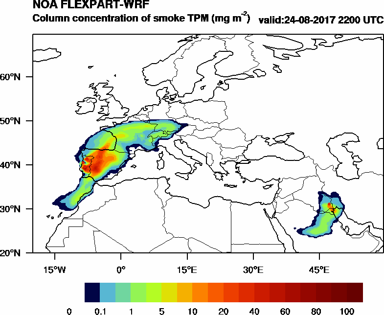 Column concentration of smoke TPM - 2017-08-24 22:00