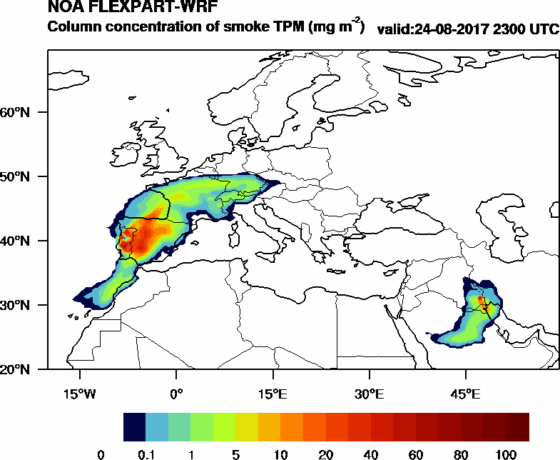 Column concentration of smoke TPM - 2017-08-24 23:00