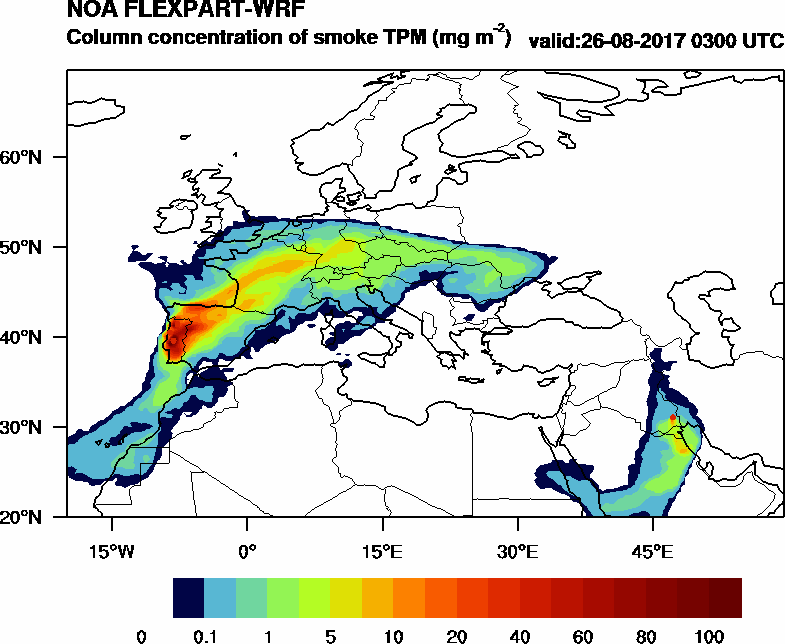 Column concentration of smoke TPM - 2017-08-26 03:00