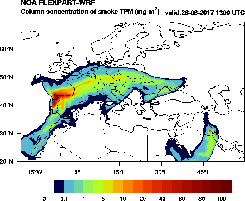 Column concentration of smoke TPM - 2017-08-26 13:00